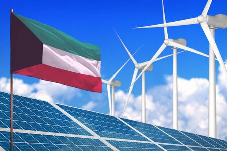 Kuwait solar and wind energy, renewable energy concept with windmills - renewable energy against global warming - industrial illustration, 3D illustration