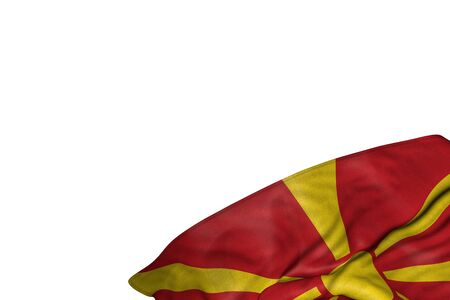 beautiful holiday flag 3d illustration  - Macedonia flag with big folds lying flat in bottom right corner isolated on white Banco de Imagens