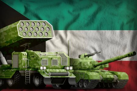 tank and rocket artillery with summer pixel camouflage on the Kuwait flag background. Kuwait heavy military armored vehicles concept. 3d Illustration