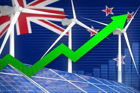 New Zealand solar and wind energy rising chart, arrow up  - modern energy industrial illustration. 3D Illustration Banco de Imagens