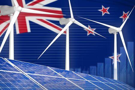 New Zealand solar and wind energy digital graph concept  - alternative energy industrial illustration. 3D Illustration