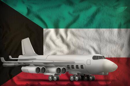 bomber on the Kuwait flag background. 3d Illustration