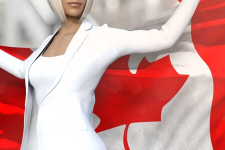 pretty business lady is holding Canada flag in her hands behind her on the office building background - flag concept 3d illustration Banco de Imagens