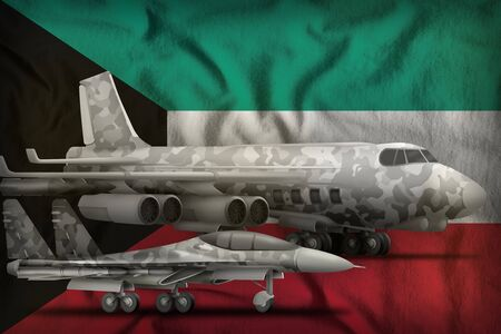 air forces with grey camouflage on the Kuwait flag background. Kuwait air forces concept. 3d Illustration Banco de Imagens