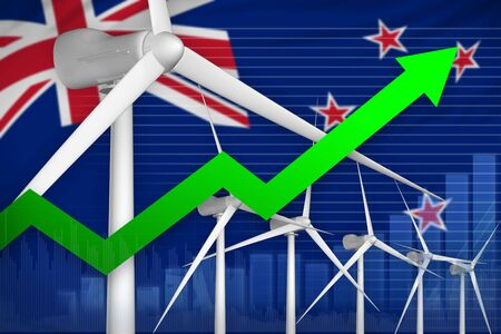 New Zealand wind energy power rising chart, arrow up  - modern energy industrial illustration. 3D Illustration