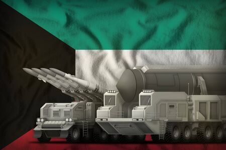 rocket forces on the Kuwait flag background. Kuwait rocket forces concept. 3d Illustration