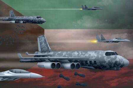 Kuwait bomb air strike concept. Modern Kuwait war airplanes bombing on flag background. 3d Illustration Фото со стока