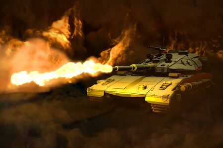 Military 3D Illustration of forest camo tank with design that not exists in combat with fire around shoots, heroic defense concept Banco de Imagens