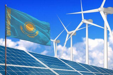 Kasachstan Solar- und Windenergie, Konzept der erneuerbaren Energien mit Windmühlen - erneuerbare Energie gegen die globale Erwärmung - industrielle Illustration, 3D-Darstellung