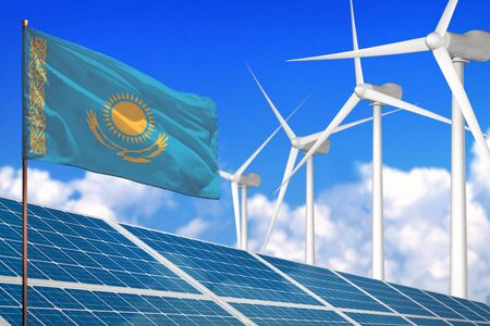 Kazakhstan solar and wind energy, renewable energy concept with windmills - renewable energy against global warming - industrial illustration, 3D illustration