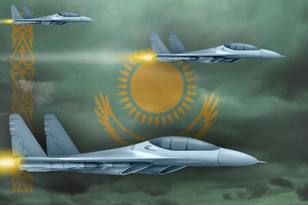 Kazakhstan air strike concept. Modern war airplanes attack on Kazakhstan flag background. 3d Illustration 免版税图像