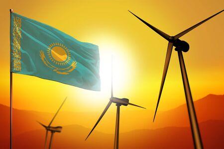 Kazakhstan wind energy, alternative energy environment concept with turbines and flag on sunset - alternative renewable energy - industrial illustration, 3D illustration