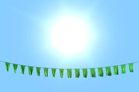 pretty many Mauritania flags or banners hangs on rope on blue sky background - any celebration flag 3d illustration