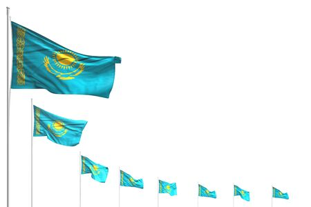 cute day of flag 3d illustration  - many Kazakhstan flags placed diagonal isolated on white with space for your text Banco de Imagens