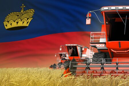 three red modern combine harvesters with Liechtenstein flag on grain field - close view, farming concept - industrial 3D illustration Banco de Imagens