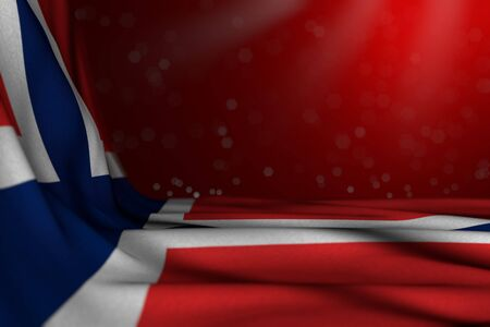 pretty feast flag 3d illustration  - dark illustration of Norway flag lie diagonal on red background with bokeh and empty place for your content