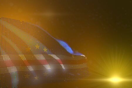 cute labor day flag 3d illustration  - colorful image of Cabo Verde made of dots waving on yellow - bokeh and space for content Banco de Imagens