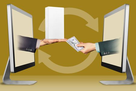electronic concept, hands from monitors. hand with white small cell phone box and hand with cash money . 3d illustration Banco de Imagens