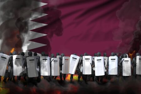 Qatar police squad in heavy smoke and fire protecting state against revolt - protest stopping concept, military 3D Illustration on flag background