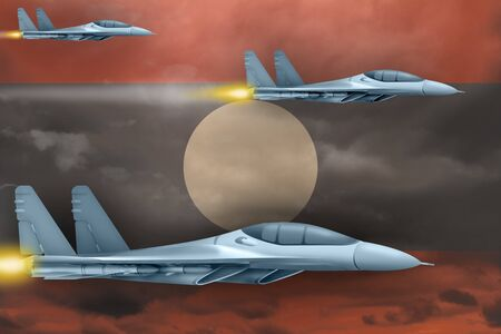 Lao People Democratic Republic air strike concept. Modern war airplanes attack on Lao People Democratic Republic flag background. 3d Illustration