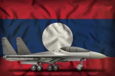 fighter, interceptor on the Lao People Democratic Republic flag background. 3d Illustration