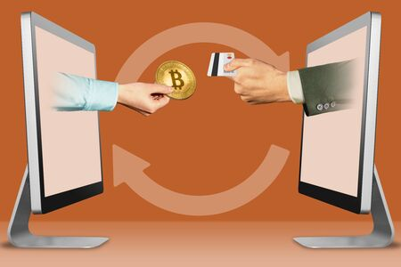 computer concept, hands from monitors. hand with bitcoin and hand with credit card . 3d illustration
