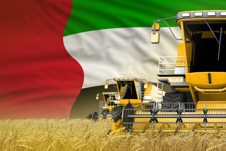 industrial 3D illustration of 3 yellow modern combine harvesters with United Arab Emirates flag on farm field - close view, farming concept
