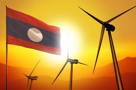 Lao People Democratic Republic wind energy, alternative energy environment concept with turbines and flag on sunset - alternative renewable energy - industrial illustration, 3D illustration Banco de Imagens