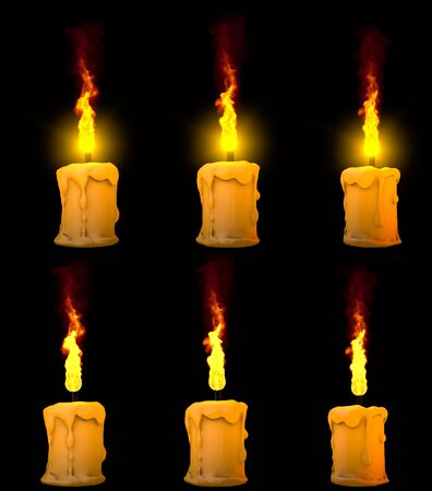 nice glowing thick yellow paraffin candle isolated on black with and without highlight - relaxation concept, 3D illustration of object