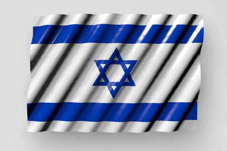 nice any holiday flag 3d illustration  - shining flag of Israel with big folds lie isolated on grey Banco de Imagens