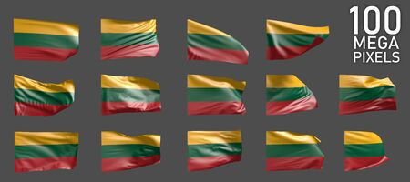 Lithuania flag isolated - various pictures of the waving flag on grey background - object 3D illustration Banco de Imagens