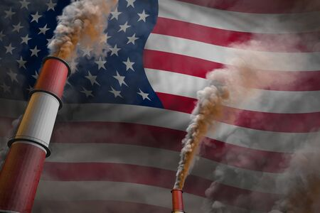 USA pollution fight concept - two large plant pipes with heavy smoke on flag background, industrial 3D illustration Banco de Imagens