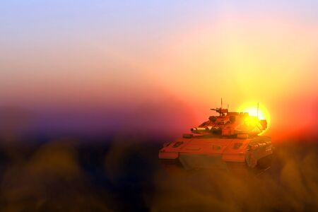 Military 3D Illustration of desert tactical camouflage miltary tank with fictive design on sunset in desert, high detail patriotism concept