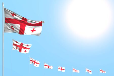 beautiful many Georgia flags placed diagonal with soft focus and free space for your content - any feast flag 3d illustration