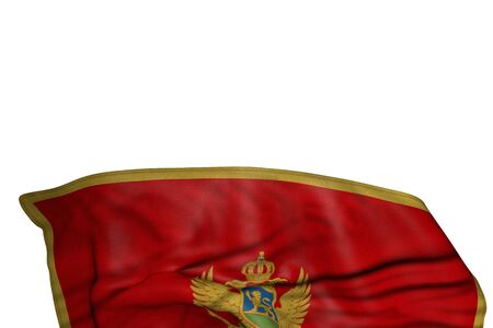 cute holiday flag 3d illustration  - Montenegro flag with large folds lay in the bottom isolated on white Banco de Imagens