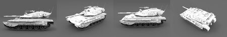 high resolution white heavy tank with design that not exists isolated on grey background, tank troops concept - military 3D Illustration Banco de Imagens