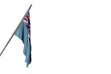 nice Fiji flag hanging on a diagonal pole isolated on white - any celebration flag 3d illustration