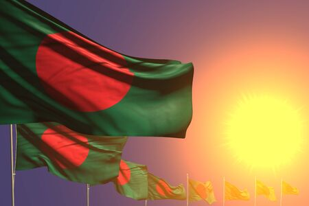 nice any occasion flag 3d illustration  - many Bangladesh flags placed diagonal on sunset with place for your content