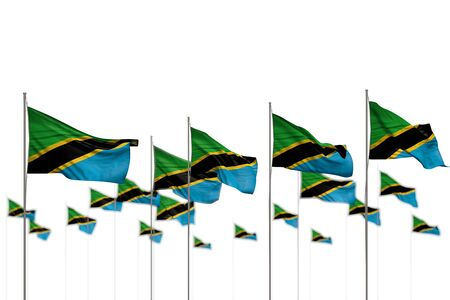 pretty any holiday flag 3d illustration  - Tanzania isolated flags placed in row with bokeh and space for text