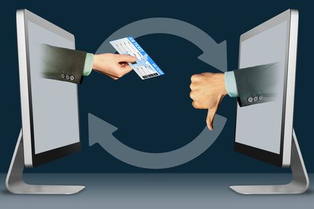hi-tech concept, hands from laptops. air ticket and thumbs down, dislike . 3d illustration Banco de Imagens