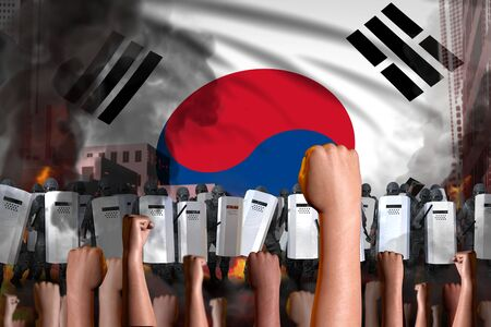 demonstration fighting concept - protest in Republic of Korea (South Korea) on flag background, police guards stand against the protesting crowd -  military 3D Illustration