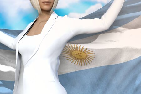 pretty business lady is holding Argentina flag in her hands behind her on the blue sky background - flag concept 3d illustration Banco de Imagens