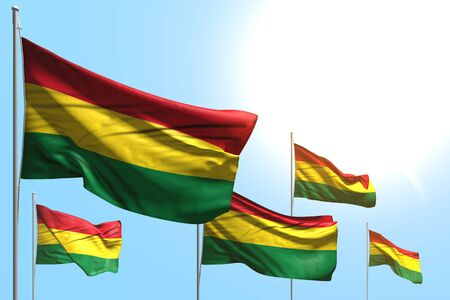 beautiful day of flag 3d illustration  - 5 flags of Bolivia are waving on blue sky background
