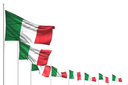 wonderful many Italy flags placed diagonal isolated on white with space for content - any celebration flag 3d illustration