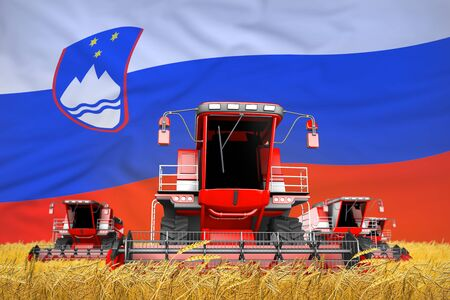 industrial 3D illustration of four bright red combine harvesters on farm field with flag background, Slovenia agriculture concept Banco de Imagens