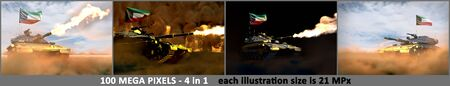 4 high resolution illustrations of heavy tank with design that not exists and with Kuwait flag - Kuwait army concept, military 3D Illustration Banco de Imagens