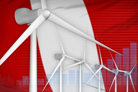 Peru wind energy power digital graph concept  - environmental energy industrial illustration. 3D Illustration