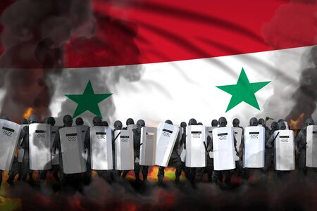 Syrian Arab Republic protest stopping concept, police special forces in heavy smoke and fire protecting law against mutiny - military 3D Illustration on flag background