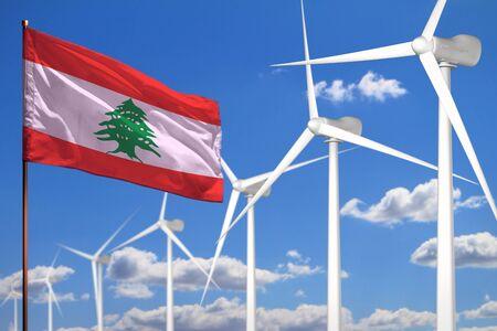 Lebanon alternative energy, wind energy industrial concept with windmills and flag - alternative renewable energy industrial illustration, 3D illustration Stok Fotoğraf