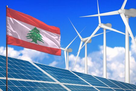 Lebanon solar and wind energy, renewable energy concept with windmills - renewable energy against global warming - industrial illustration, 3D illustration